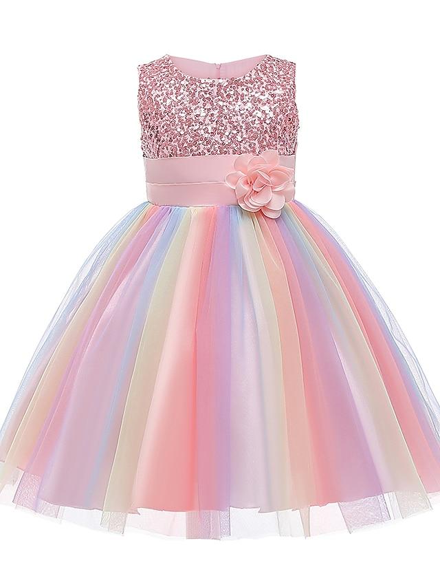 Kids Little Girls' Dress Rainbow Flower Party Tutu Dresses Sequins Pleated Bow Blue Purple Blushing Pink Knee-length Sleeveless Cute Dresses 2-12 Years