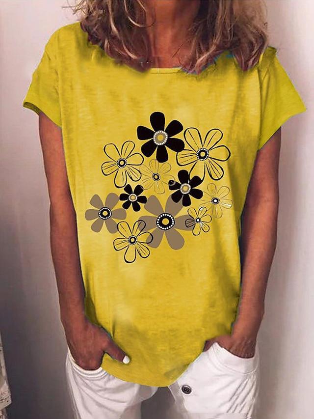 Women's T shirt Floral Print Round Neck Tops Cotton Basic Basic Top White Blue Yellow