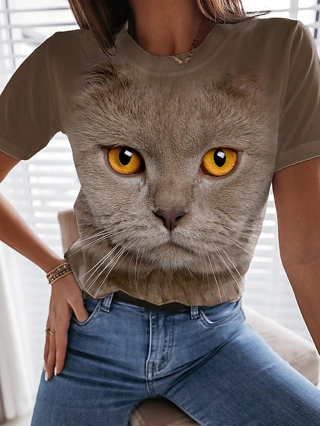 בגדי ריקוד נשים ליציאה חתול תלת ממדי חולצה קצרה חתול גראפי 3D דפוס צווארון עגול בסיסי צמרות פול חאקי
