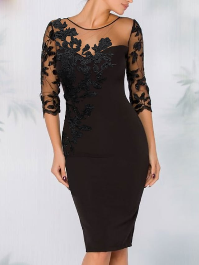 Sheath / Column Elegant Wedding Guest Cocktail Party Dress Illusion Neck 3/4 Length Sleeve Knee Length Polyester with Sequin Appliques 2021