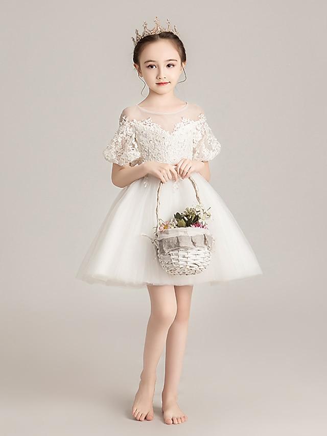 Prenses Kısa / Mini Çiçek Kız Elbiseleri Davet / Parti Tül Kısa Kollu Illüzyon boyun çizgisi ile Boncuklama / İlk Tanışma