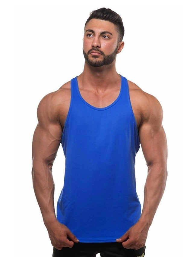 Men's Tank Top Graphic Solid Colored Plus Size Basic Sleeveless Daily Slim Tops Active Round Neck White Blue Red / Sports / Summer