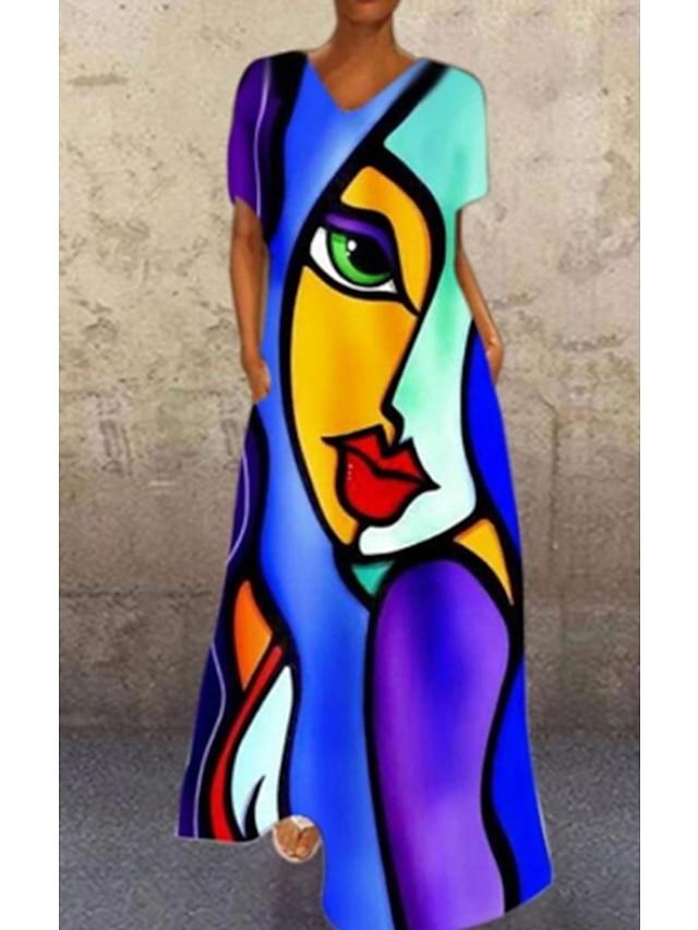 Women's A Line Dress Maxi long Dress Face blue Red face Human face orange Purple White Short Sleeve Print Abstract Print Spring Summer V Neck Elegant Casual 2021 S M L XL XXL XXXL