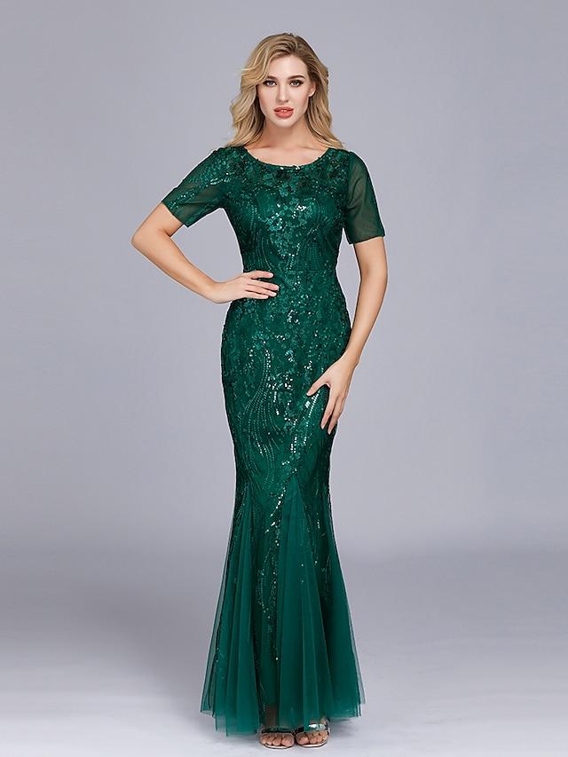 בתולת ים \ חצוצרה אימפריה אלגנטית ללבוש למסיבה ערב רישמי שמלה עם תכשיטים שרוולים קצרים עד הריצפה טול עם ריקמה 2021