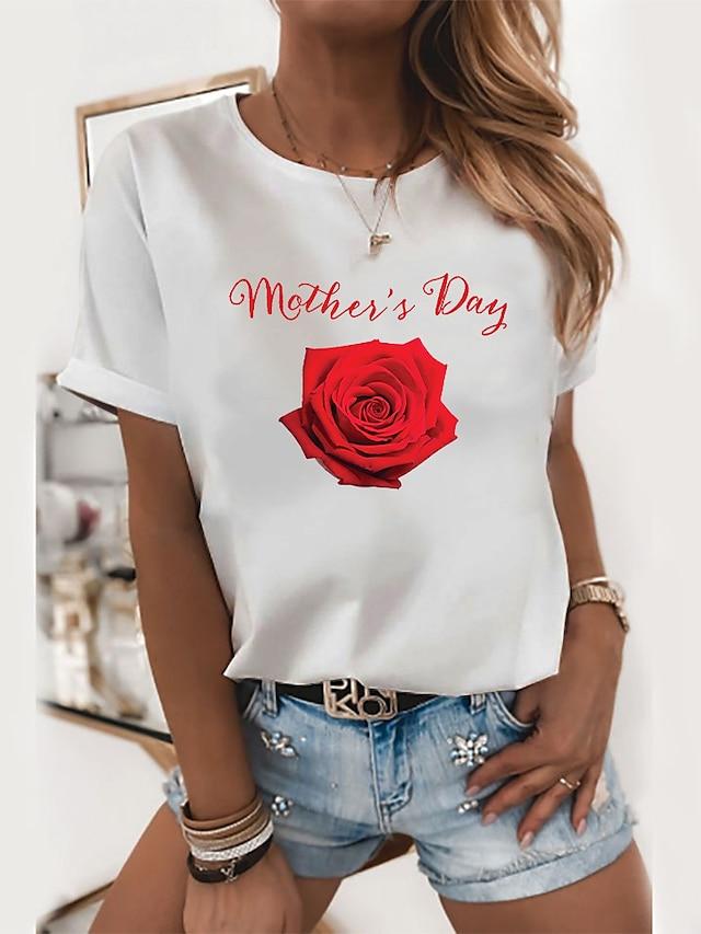 Dame Blomster Tema Maling T skjorte Blomstret Grafisk Bokstaver Trykt mønster Rund hals Grunnleggende Topper 100 % bomull Hvit Svart