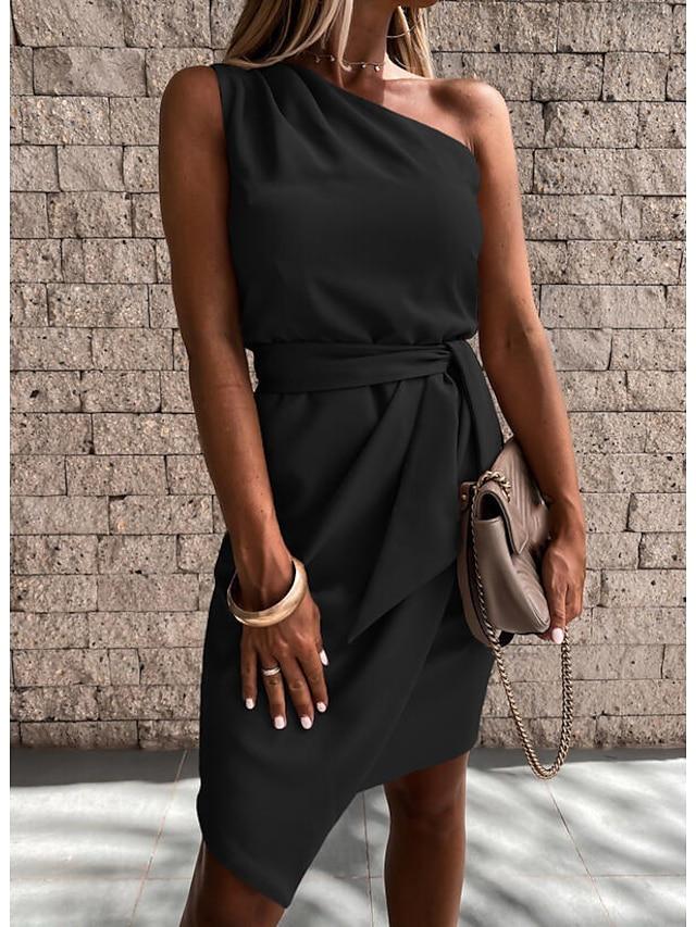 Γυναικεία Φόρεμα σε ευθεία γραμμή Μίνι φόρεμα Θαλασσί Ανθισμένο Ροζ Μαύρο Ρουμπίνι Μπεζ Κοντομάνικο Συμπαγές Χρώμα Με Κορδόνια Άνοιξη Καλοκαίρι Ένας Ώμος Γραφείο Κομψό Καθημερινό Αργίες Κανονικό 2021