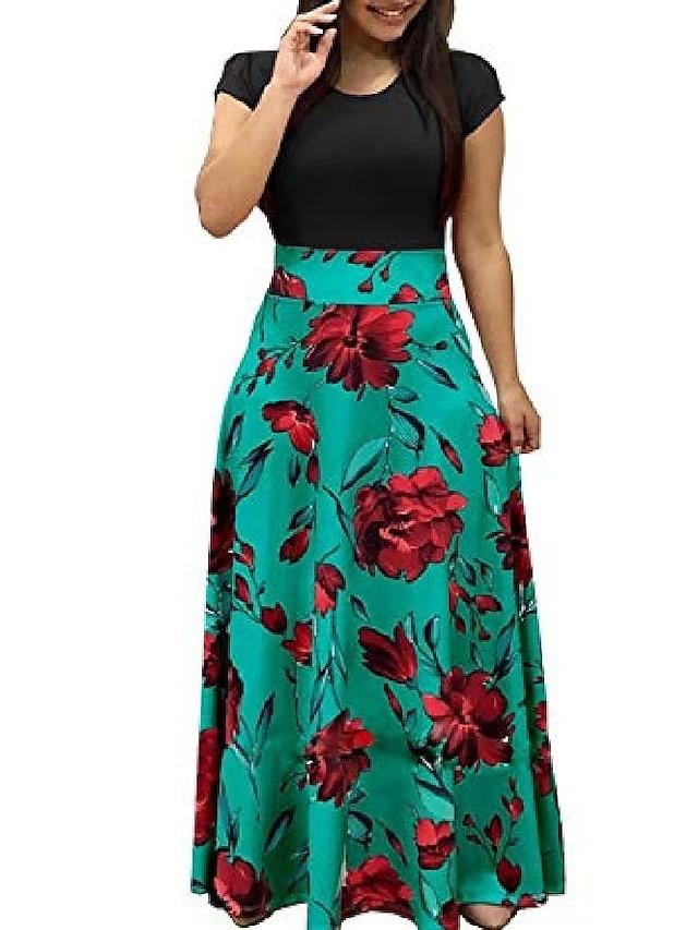 mujer manga corta suelta liso casual largo maxi vestidos con estampado floral d4a, negro verde, xx-large