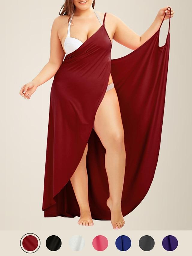 litb basic dame pluss størrelse v-hals strandkjole stropp ryggløse badedrakt ensfarget kvinnelig kort wrap cover opp