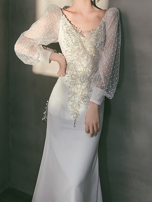 Sheath / Column Glittering Elegant Engagement Formal Evening Dress V Neck Long Sleeve Ankle Length Stretch Fabric with Appliques 2021