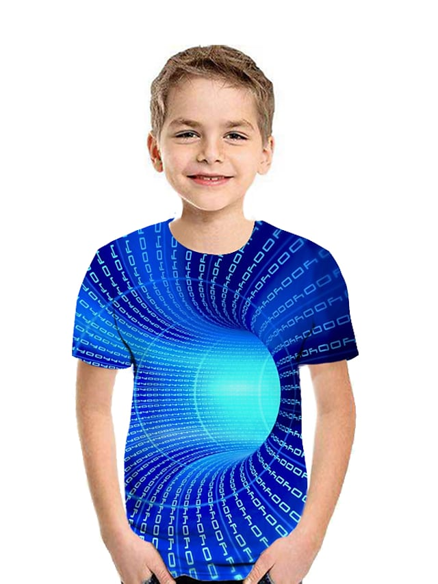 Kids Boys' T shirt Tee Short Sleeve Patchwork Geometric 3D Crewneck Print Children Easter Summer Tops Active Streetwear White Black Blue 2-12 Years