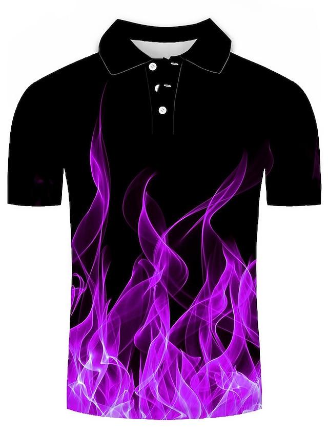 Erkek Golf Gömlek Tenis forması 3D Baskı Geometrik 3D Baskı Desen Kısa Kollu Günlük Üstler Günlük Moda Mor