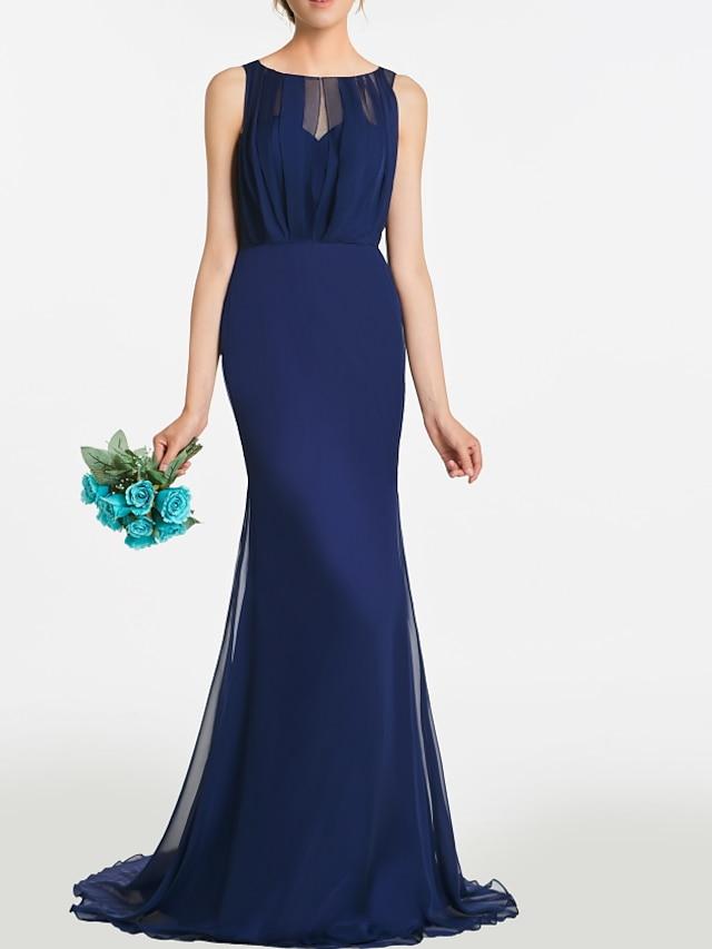 Syrena Minimalistyczny Elegancja Zaręczynowy Kolacja oficjalna Sukienka Zaokrąglony Bez rękawów Tren sweep Szyfon z Plisy 2021