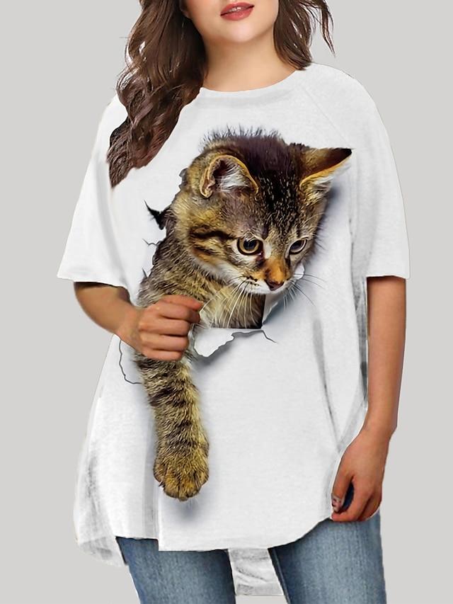 女性用 プラスサイズ ドレス T シャツドレス ミニドレス ハーフスリーブ 猫 グラフィック 3D プリント カジュアル 秋 春 夏 ホワイト ブルー ブラック XL XXL 3XL 4XL 5XL