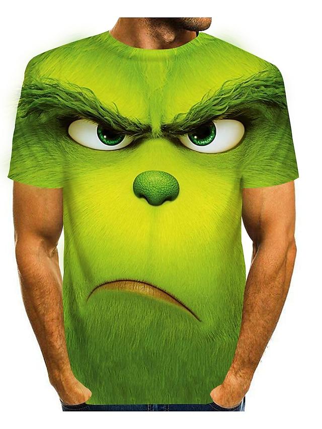 Herr T-shirts T-shirt Skjorta 3D-tryck Grafiska tryck Djur Kortärmad Tillfällig Blast Tecknat Stor och hög Rund hals Purpur Grön Ljusgrön