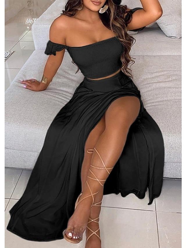 Kadın's Dvodjelna haljina Maks haljina Beyaz Siyah Kolsuz Tek Renk Yaz Düşük Omuz Günlük 2021 S M L XL