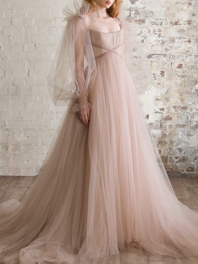 A-Line Elegant Boho Engagement Formal Evening Dress Scoop Neck Long Sleeve Sweep / Brush Train Tulle with Pleats Ruched 2021