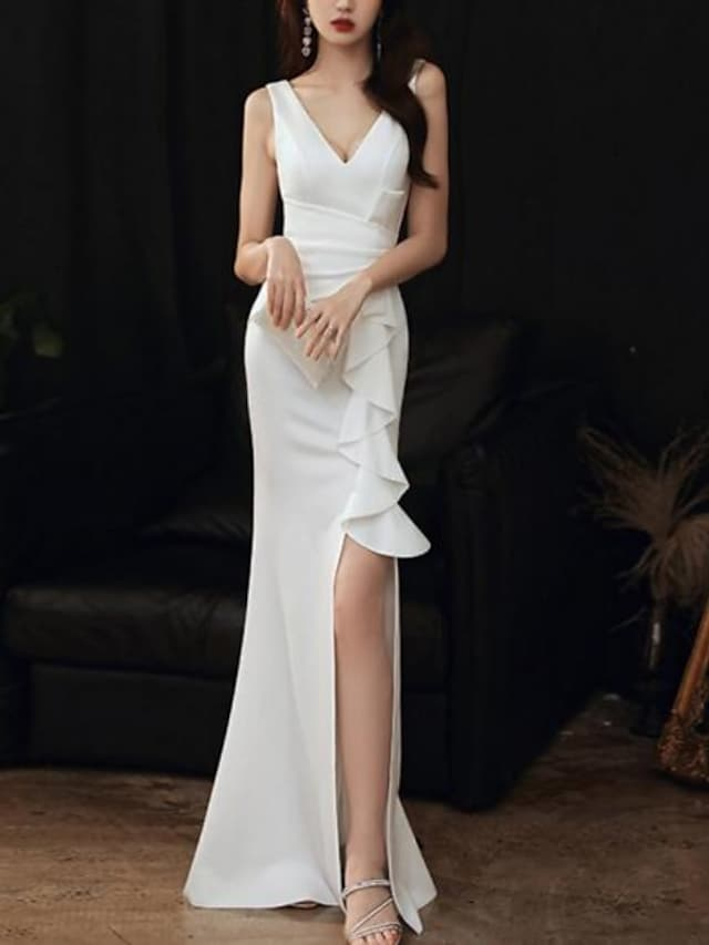 Mermaid / Trumpet Minimalist Elegant Wedding Guest Formal Evening Dress V Neck Sleeveless Floor Length Stretch Fabric with Ruffles Split 2021