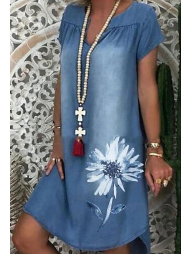 Women's Denim Dress Knee Length Dress Blue Short Sleeve Floral Print Summer V Neck Elegant 2021 M L XL XXL 3XL