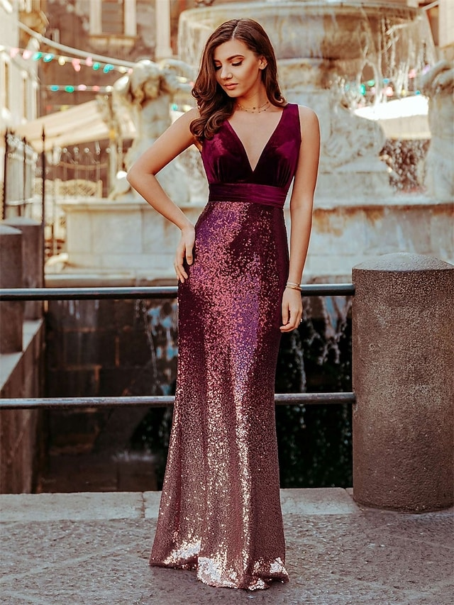 Mermaid / Trumpet Sparkle Sexy Party Wear Formal Evening Dress V Neck Sleeveless Floor Length Sequined with Sequin 2021