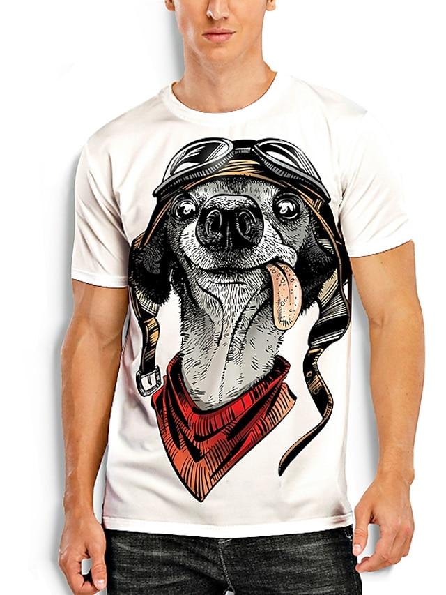 Men's Tees T shirt 3D Print Dog Graphic Prints Animal Print Short Sleeve Daily Tops Basic Casual White