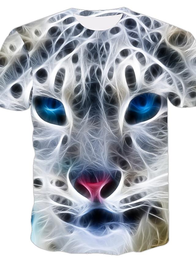 Men's T shirt 3D Print Animal 3D Print Print Short Sleeve Casual Tops Casual Fashion White