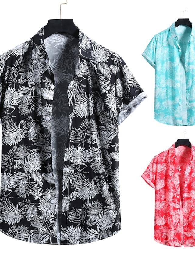 Muškarci Majica 3D ispis Grafike Ispis Kratkih rukava Za odmor Vrhovi Ovratnik s gumbima Plava Crn Crvena / Plaža