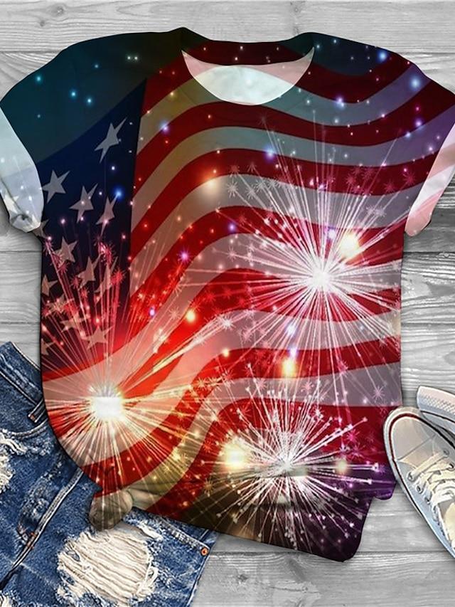 Women's Plus Size Tops T shirt Graphic Flag Print Short Sleeve Crewneck Basic Spring Summer Red Big Size XL XXL 3XL 4XL 5XL