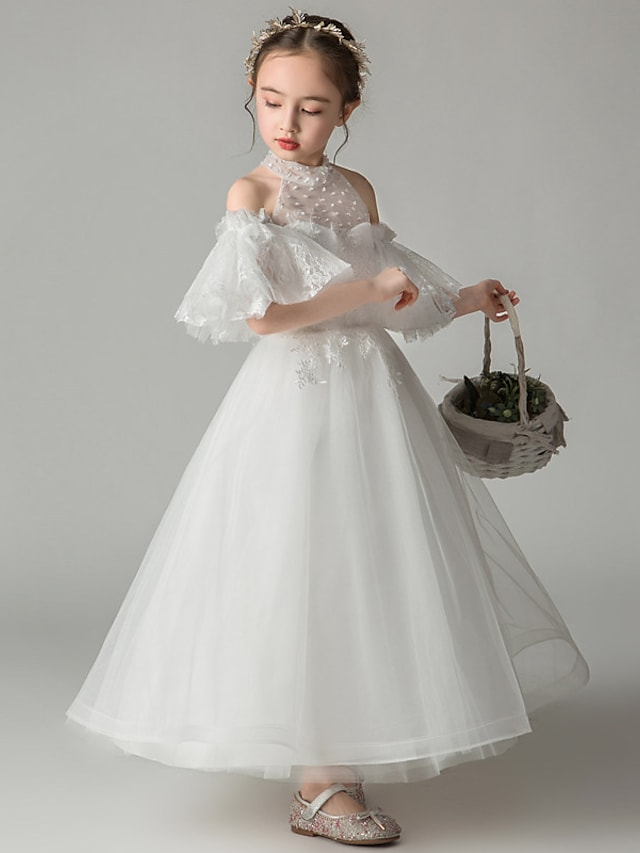 Princess Ankle Length Event / Party / First Communion Flower Girl Dresses - Tulle Short Sleeve / Sleeveless High Neck with Beading / Appliques / Solid