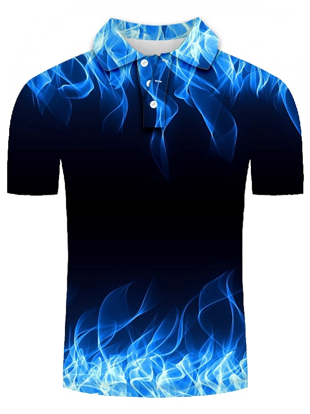 Men's Golf Shirt Graphic Plus Size Short Sleeve Daily Slim Tops Personalized Streetwear 3D Exaggerated Shirt Collar Blue