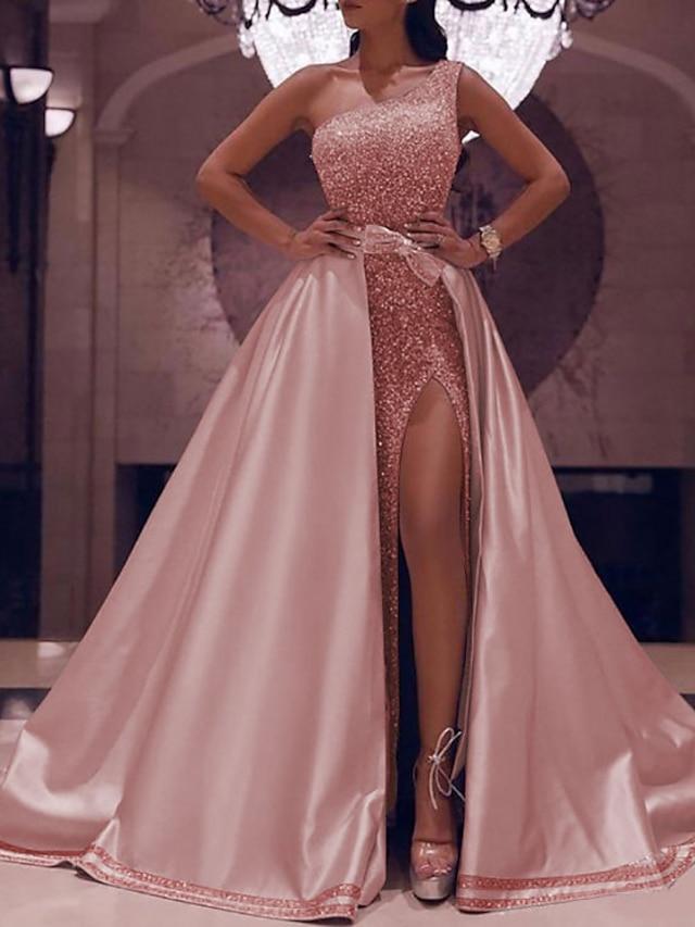 볼 드레스 스파클 우아함 파티 복 댄스 파티 발렌타인 데이 드레스 원 숄더 민소매 바닥 길이 새틴 와 리본 스팽글 트임 2021