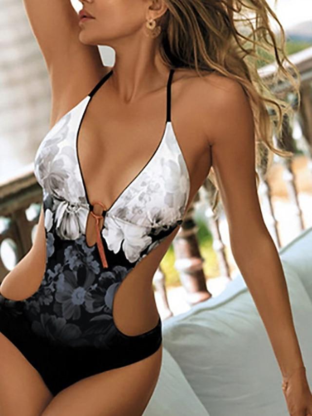 Per donna Un pezzo Costume da bagno Tagliato Pulsante Fantasia floreale Leopardata Serpentina Grigio Argento Bianco Costumi da bagno All'americana Costumi da bagno Sensuale / Imbottito