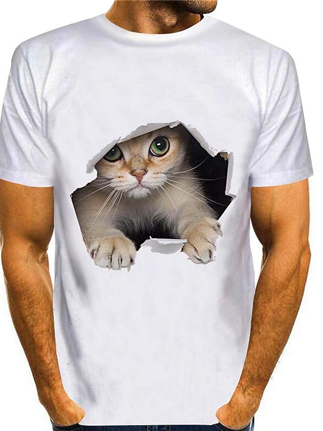 Per uomo Magliette maglietta Camicia Stampa 3D Gatto Stampe astratte Animali Taglie forti 3D Con stampe Manica corta Casuale Top Moda città Taglio attillato Allenarsi Rotonda Bianco Blu Viola