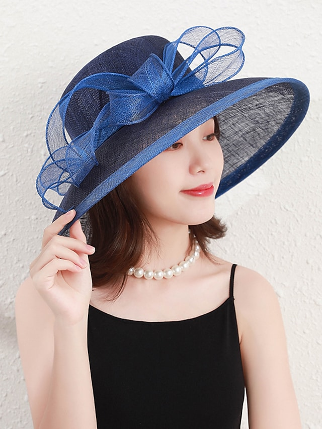 Elegant Lady Flax Hats with Bowknot / Trim 1 Piece Party / Evening / Casual Headpiece