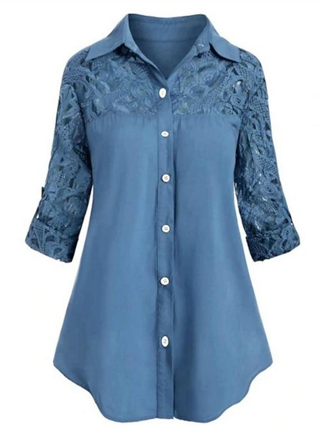 Women's Plus Size Tops Shirt Plain Embroidered Button Long Sleeve Shirt Collar Spring Summer White Blue Red Big Size L XL XXL 3XL 4XL