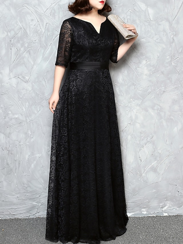 A-Line Minimalist Plus Size Wedding Guest Formal Evening Dress V Neck Half Sleeve Floor Length Lace with Sash / Ribbon 2021