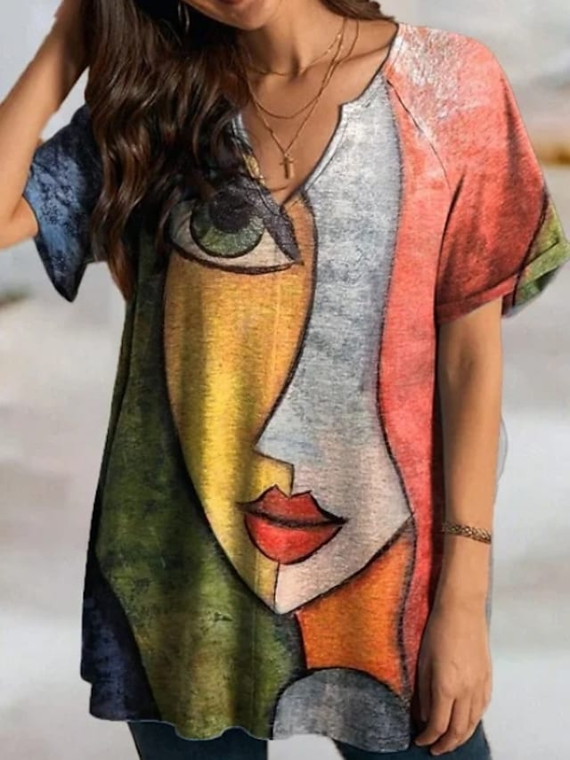 Women's T Shirt Dress Tee Dress Short Mini Dress Red Short Sleeve Print Print Fall Spring V Neck Casual Loose 2021 S M L XL XXL 3XL
