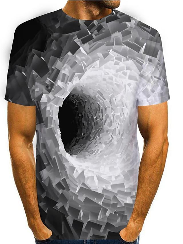 Herr T-shirt 3D-tryck Grafisk 3D 3D Tryck Kortärmad Dagligen Blast Grundläggande Ledigt Blå Purpur Gul