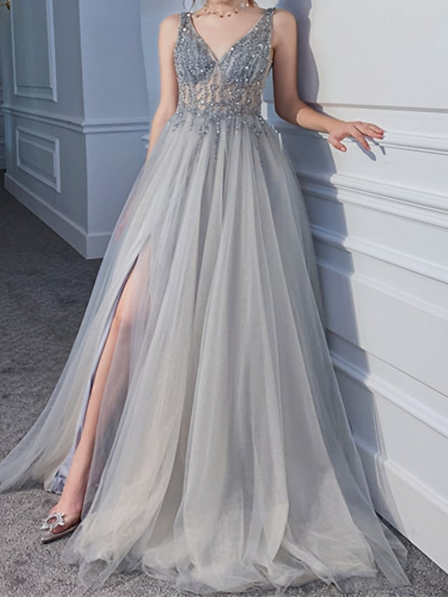 A-Line Beautiful Back Luxurious Engagement Formal Evening Dress V Neck Sleeveless Sweep / Brush Train Tulle with Sequin Split 2021