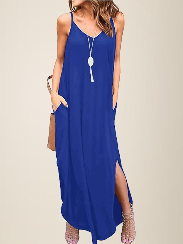 ליטב בסיסי נשים צווארון V רופף שמלה יומיומית רצועת ספגטי קיץ מזדמן נשי חוף
