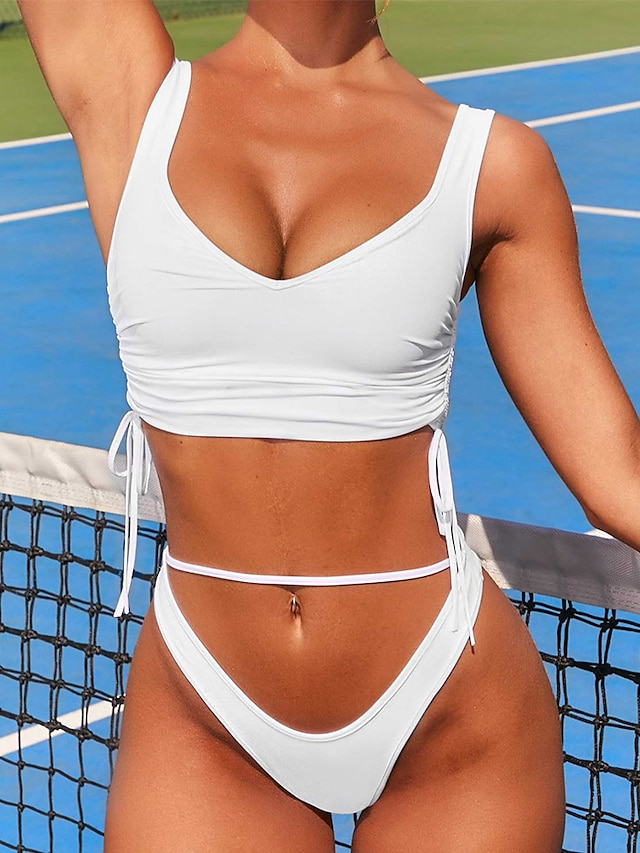 Women's Bikini Tankini Swimsuit Racerback Open Back Print Solid Color Blue White Black Swimwear Padded Strap Bathing Suits New Cute Sweet / 2 Piece / Tattoo / Padded Bras / Slim