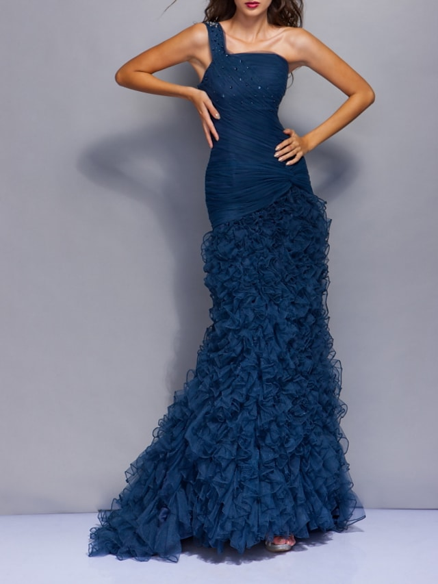 Mermaid / Trumpet Beautiful Back Sexy Engagement Formal Evening Dress One Shoulder Sleeveless Sweep / Brush Train Tulle with Tier 2021