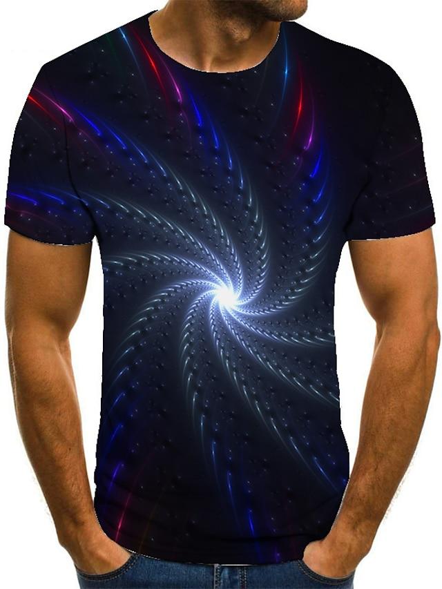 Herre T-shirt 3D-udskrivning Geometrisk 3D-udskrivning Trykt mønster Kortærmet Afslappet Toppe Afslappet Mode Blå