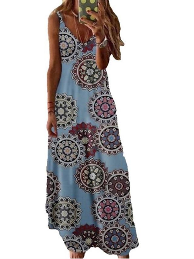 女性用 A ラインドレス マキシドレス ブルー イエロー ピンク ワイン フクシャ グリーン ダスティブルー ネービーブルー ホワイト ブラック ノースリーブ フラワー 春 夏 Vネック カジュアル 2021 S M L XL XXL 3XL 4XL 5XL