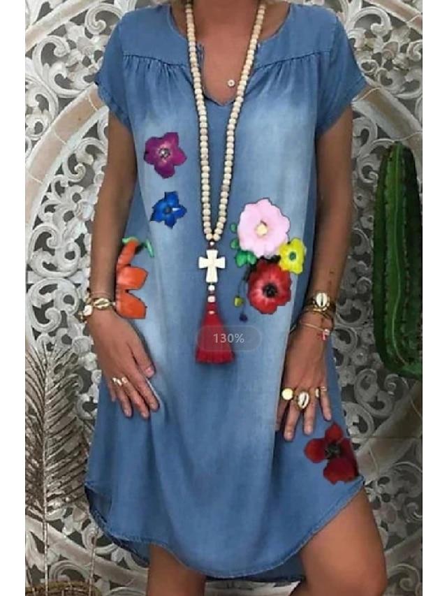 Women's A Line Dress Maxi long Dress Blue Short Sleeve Print Color Block Patchwork Print Summer Round Neck Casual Loose 2021 S M L XL XXL 3XL