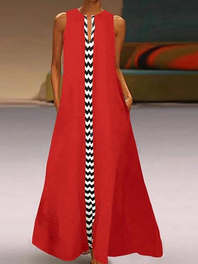 Women's Shift Dress Maxi long Dress Black Red Sleeveless Striped Spring Summer Round Neck Boho Beach Loose 2021 S M L XL XXL