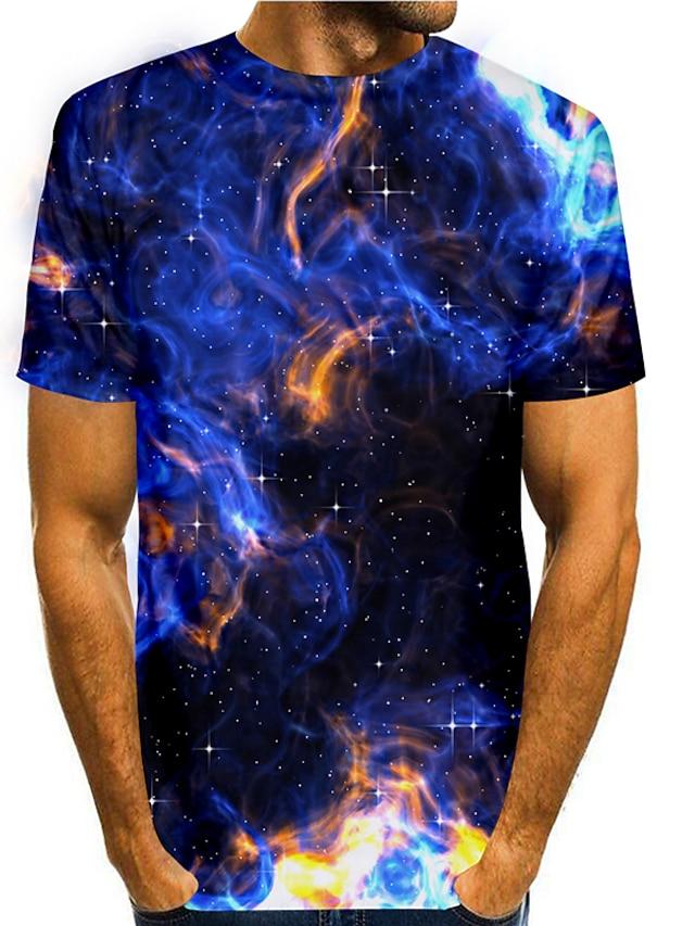 Herre T skjorte 3D-utskrift Grafisk 3D 3D Trykt mønster Kortermet Daglig Topper Grunnleggende Fritid Blå