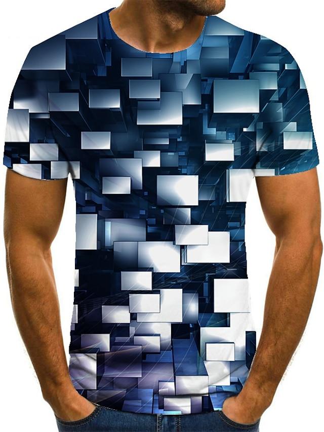 Muškarci Majica 3D ispis Geometrijski oblici 3D ispis Ispis Kratkih rukava Kauzalni Vrhovi Ležerne prilike Moda Crno / bijela