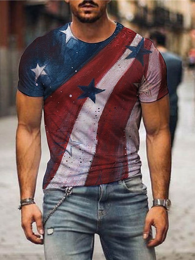Herr T-shirts T-shirt 3D-tryck Grafiska tryck Amerikanska flaggan Självständighetsdagen Flagga Tryck Kortärmad Dagligen Blast Ledigt Designer Stor och hög Rund hals Rubinrött / Sommar