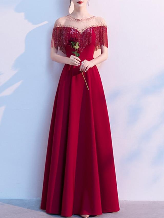 A-Line Glittering Elegant Engagement Formal Evening Dress Illusion Neck Half Sleeve Floor Length Stretch Fabric with Crystals Tassel 2021