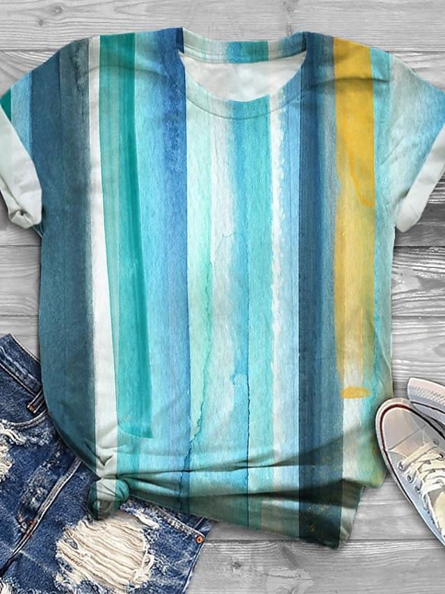 Women's Plus Size Tops T shirt Striped Graphic Print Short Sleeve Crewneck Basic Blue Big Size XL XXL 3XL 4XL 5XL